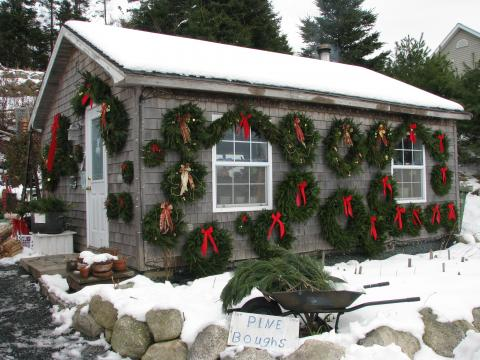 wreaths on the shop