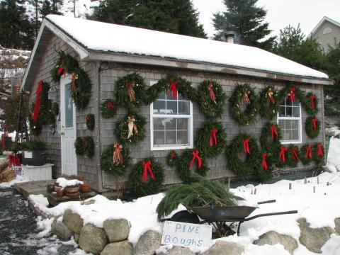 wreaths on the shop